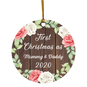 First Christmas As Mommy & Daddy 2020 - Circle Wood Ornament A