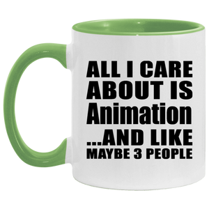 All I Care About Is Animation - 11oz Accent Mug Green