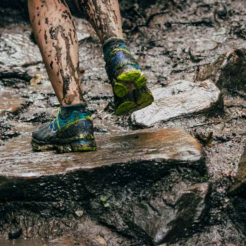 running in mud