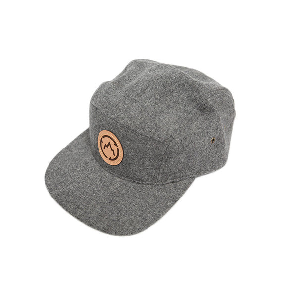 Grey Five Panel Camper Hat Front Detail - GetLostGear