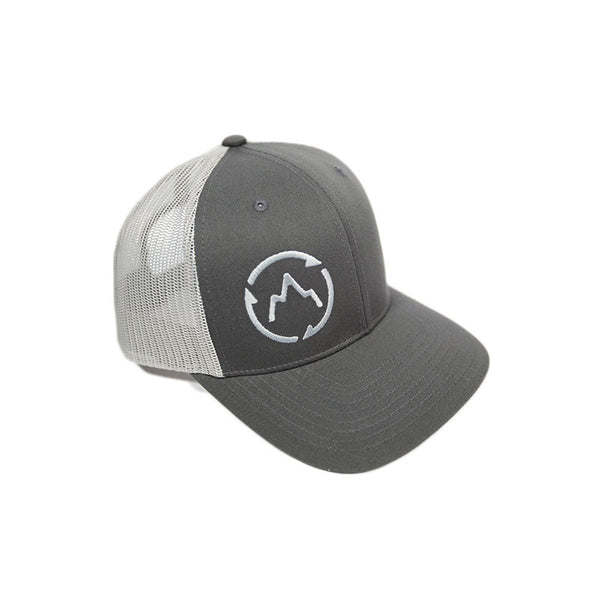Grey Mountain Trucker Hat Front Detail - GetLostGear