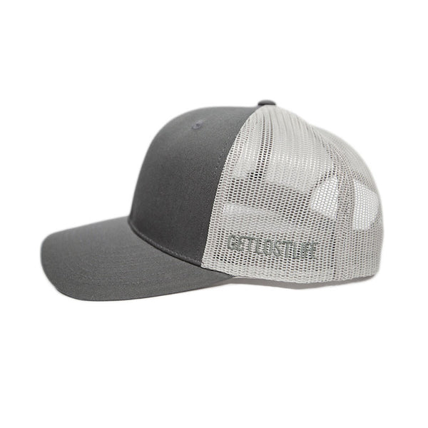 Grey Mountain Trucker Hat Side Detail - GetLostGear