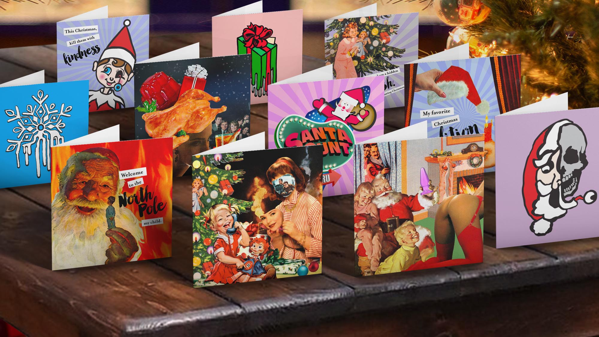 Provocative Christmas greeting cards by Joan Seed