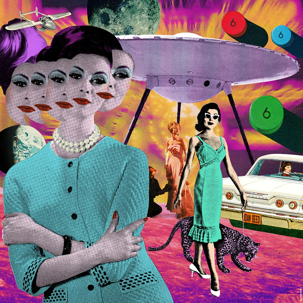 ABDUCTION retro collage artwork joan seed art gallery