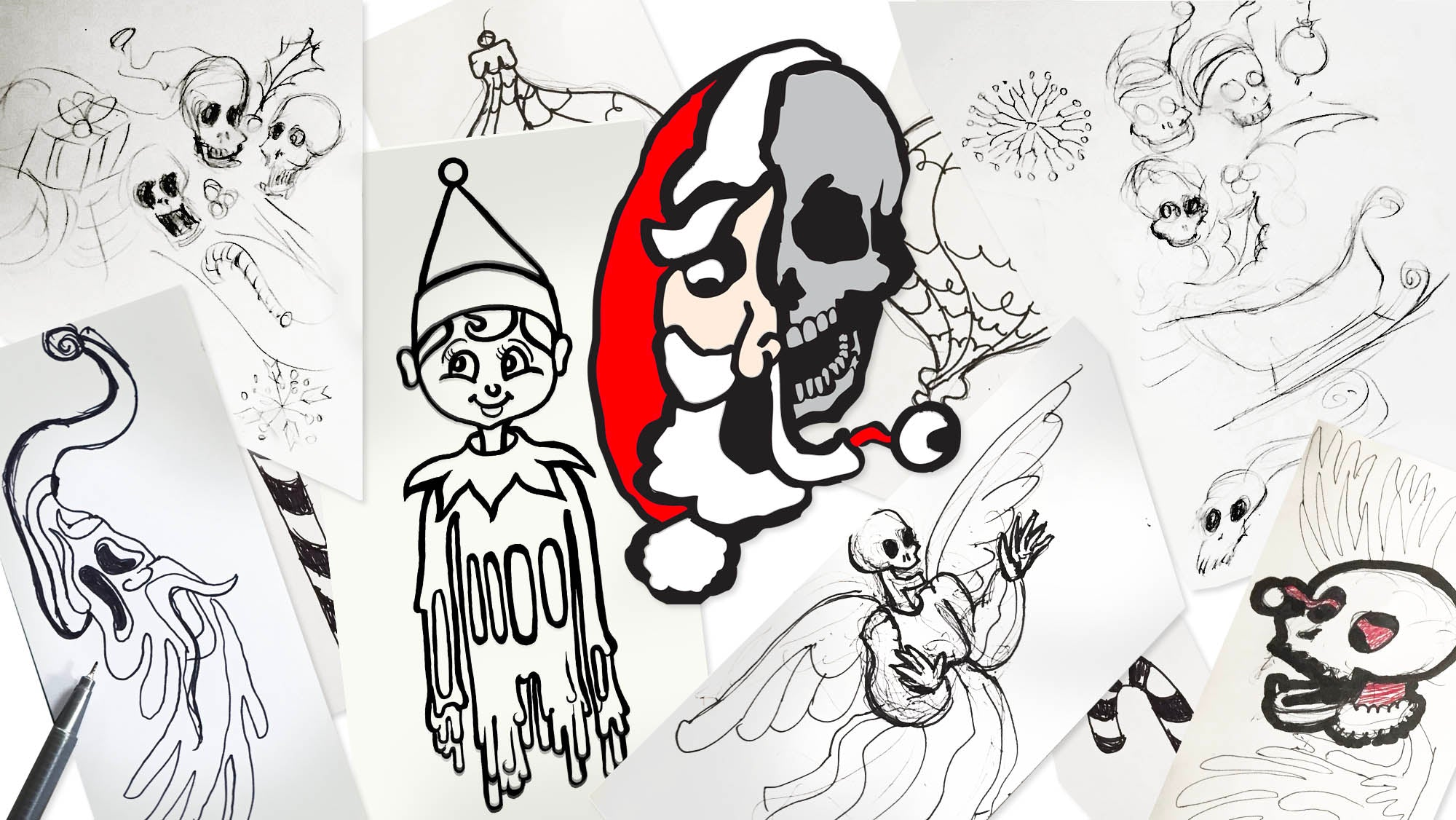 Christmas collection sketches by Joan Seed