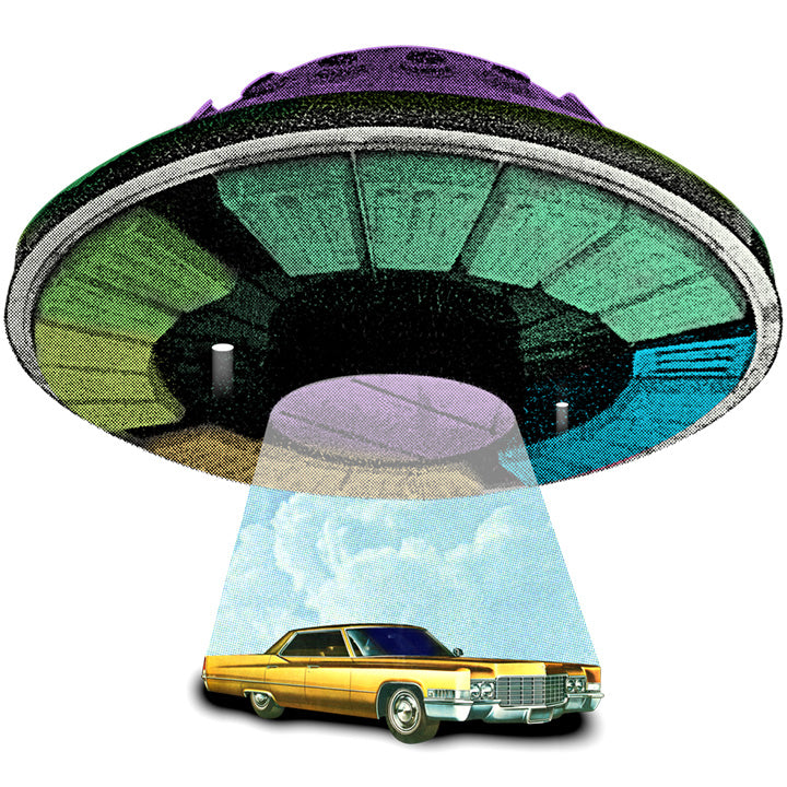 Cadillac Abduction retro collage artwork joan seed art gallery