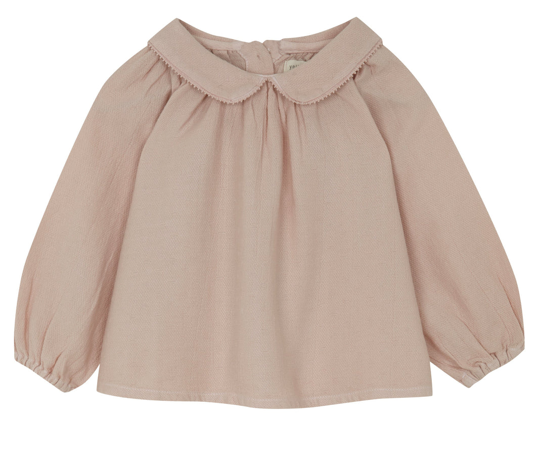 Pink Grey Collar Blouse, Yellow Pelota - BubbleChops LLC
