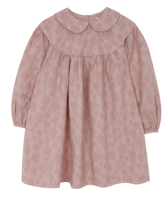 Dusty Pink Gathered Dress, Yellow Pelota - BubbleChops LLC