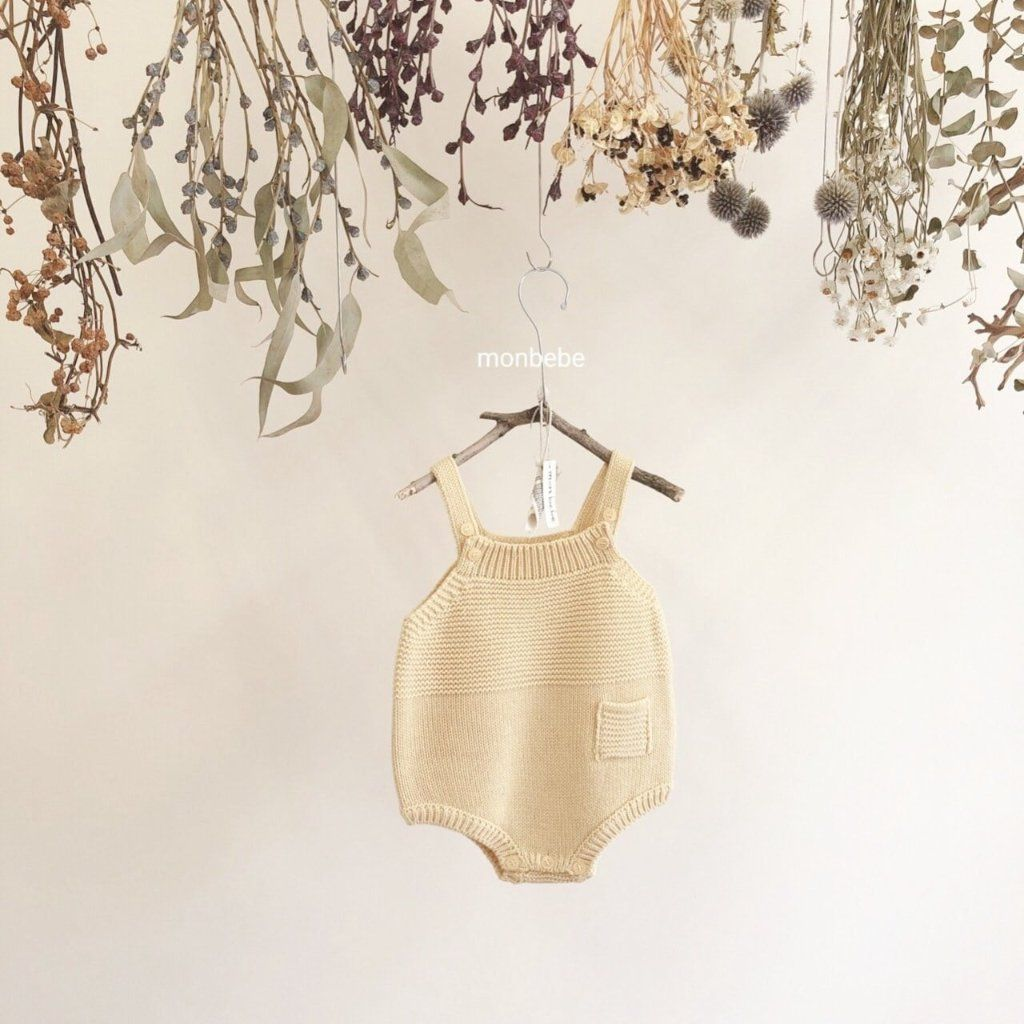 Baby Knit Romper (Yellow), Monbebe - BubbleChops LLC
