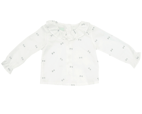 Bow Print Collared Blouse, Plumeti Rain - BubbleChops LLC