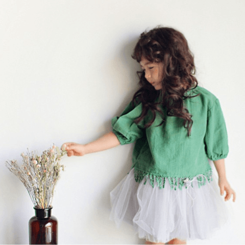 Alae Blouse in Green, Amber - BubbleChops LLC