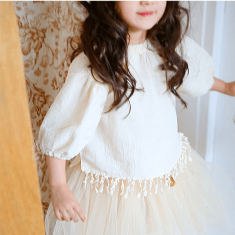 Alae Blouse in Cream, Amber - BubbleChops LLC