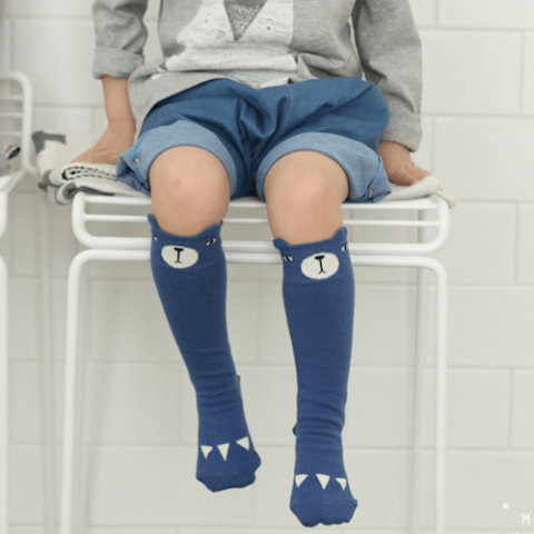 Mini Dressing - Bear Knee Socks in Blue