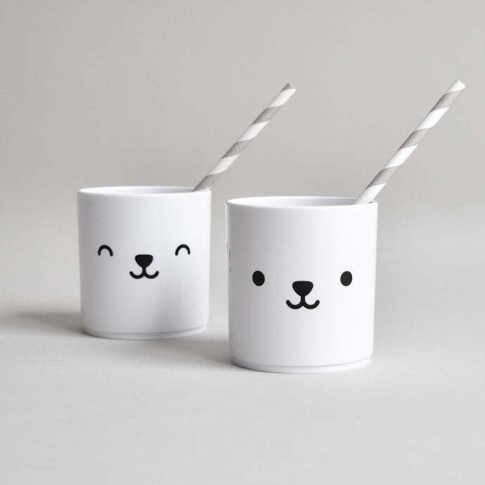 Double Sided Bear White Cup, Buddy and Bear - BubbleChops LLC