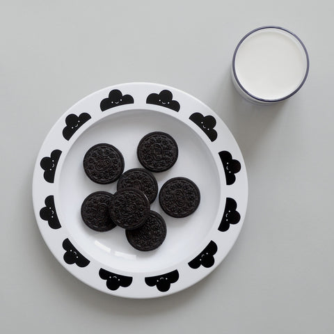 Buddy and Bear - Black Happy Clouds Plate - BubbleChops - 5