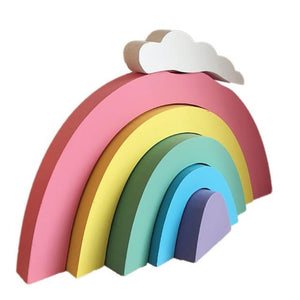 Wooden Rainbow Stacking Blocks, Friend of BubbleChops - BubbleChops LLC