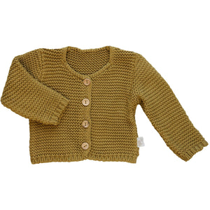 Knitted Cardigan in Cassonade, Poudre Organic - BubbleChops LLC