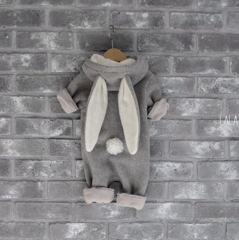 Lala - Tailed Fleece Bunny Jumpsuit (Light Grey), Lala - BubbleChops LLC