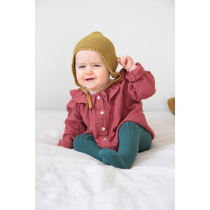 Maroon Blouse with collar (Organic Cotton), Poudre Organic - BubbleChops LLC