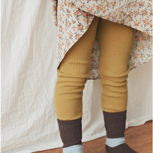 Ribbed Cotton Leggings in Mustard, Bien a Bien - BubbleChops LLC