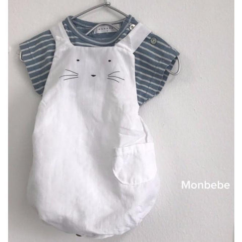 Monbebe - White Kitty Romper, Monbebe - BubbleChops LLC