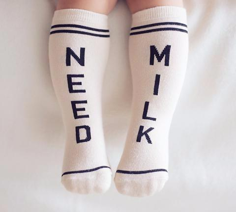 'Need Milk' Knee High Socks, Kids Clara - BubbleChops LLC