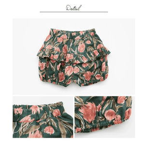 Floral Shorts (Green/Coral), Flo - BubbleChops LLC