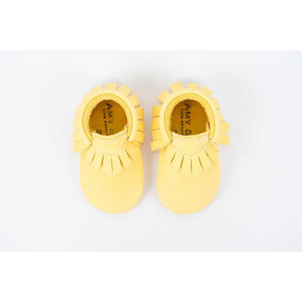 Yellow Traditional Handmade Moccasins, Amy & Ivor - BubbleChops LLC
