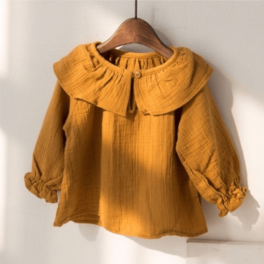 Collared Mustard Blouse, Little Colli - BubbleChops LLC