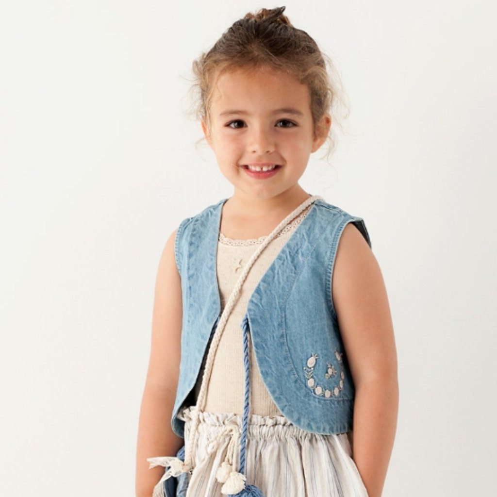 Denim Floral Vest (Girls), Tocoto Vintage - BubbleChops LLC