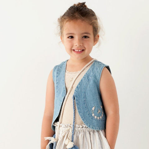 Tocoto Vintage - Denim Floral Vest (Girls)