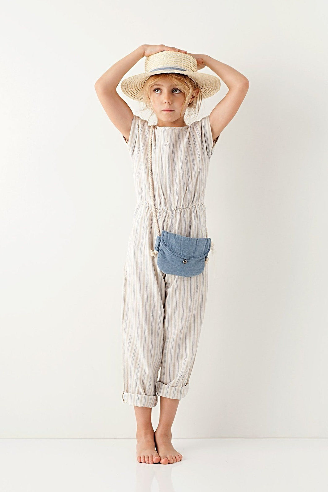 Girls Linen Jumpsuit, Tocoto Vintage - BubbleChops LLC