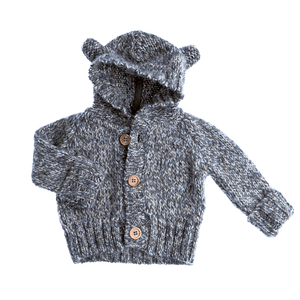 Grey Baby Bear Knitted Jacket, Tocoto Vintage - BubbleChops LLC