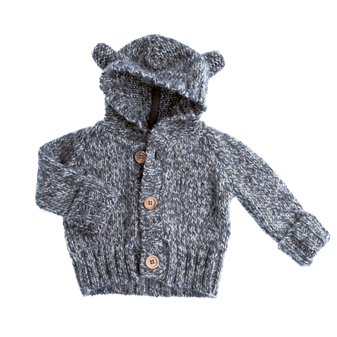 Tocoto Vintage - Grey Baby Bear Knitted Jacket (2 Sizes Left), Tocoto Vintage - BubbleChops LLC