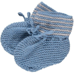 Blue Hand Knitted Cashmere Booties, Olivier Baby & Kids - BubbleChops LLC