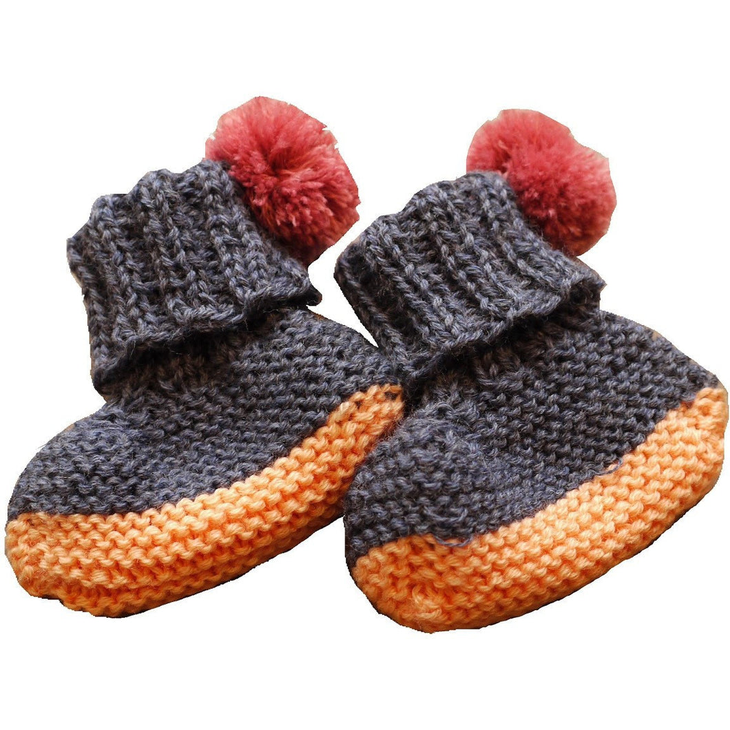 Hand Knit Pom Pom Booties (Exclusive Dark Blue & Peach), Petite Albion - BubbleChops LLC