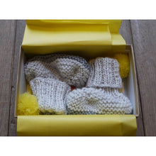 Hand Knit Pom Pom Booties (Exclusive Light Grey & Yellow), Petite Albion - BubbleChops LLC