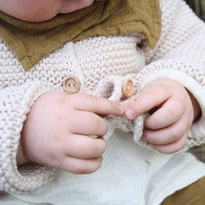 Knitted Cardigan (Tapioca), Poudre Organic - BubbleChops LLC