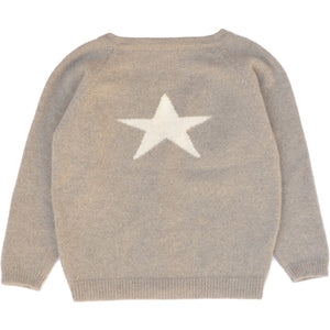 Biscuit Cashmere Cardigan with Star, Olivier Baby & Kids - BubbleChops LLC