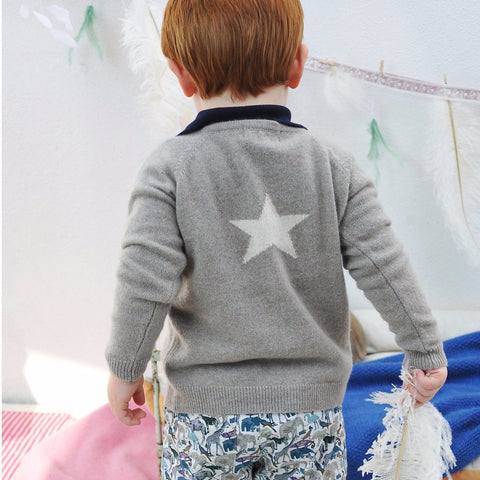 Olivier Baby & Kids - Biscuit Cashmere Cardigan with Star - BubbleChops - 4