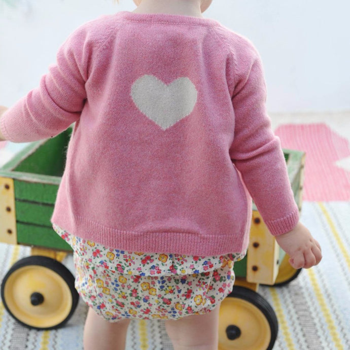 Rose Cashmere Cardigan with Heart, Olivier Baby & Kids - BubbleChops LLC