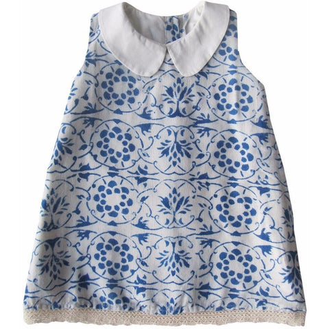 Aravore - Blue & White Rustic Dress - BubbleChops - 1