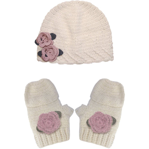 Aravore - Gift Set Vintage Crochet Beanie & Mittens with Rose Flowers - BubbleChops - 1