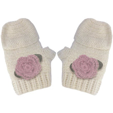 Vintage Crochet Beanie & Mittens with Rose Flowers (Set), Aravore - BubbleChops LLC