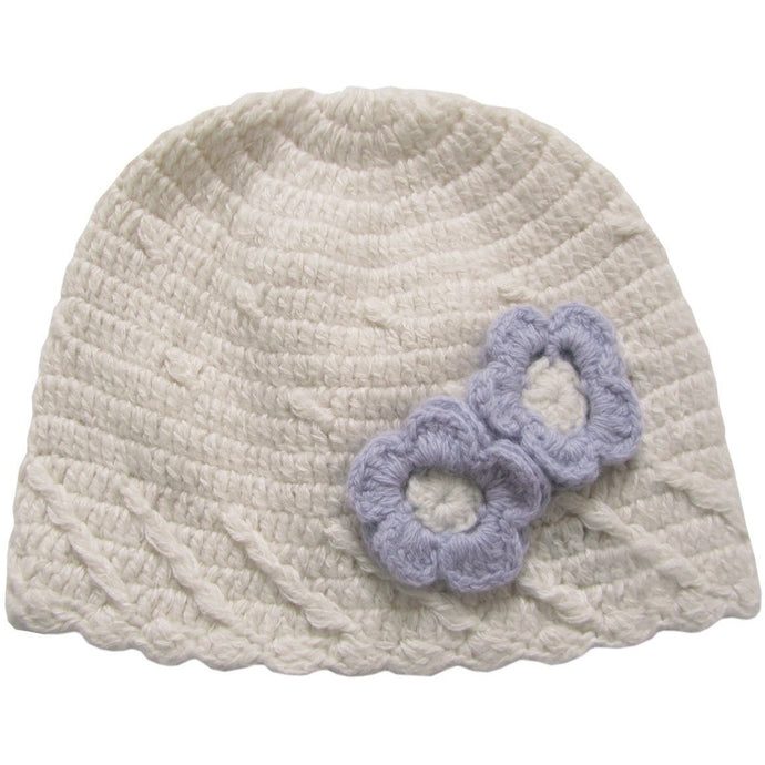 Hand Crochet Beanie with Lavender Flowers, Aravore - BubbleChops LLC