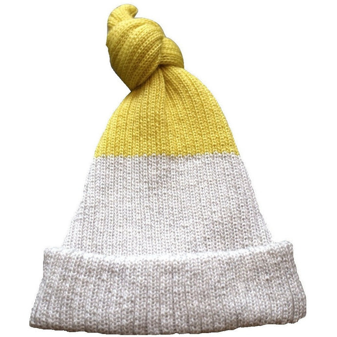 Baby Top Knot Hat (Exclusive Light Grey & Yellow), Petite Albion - BubbleChops LLC