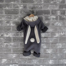 Fleece Bunny Jumpsuit (Charcoal), Lala - BubbleChops LLC