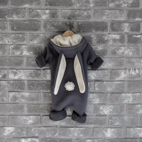 New Tailed Fleece Bunny Jumpsuit (Charcoal), Lala - BubbleChops LLC