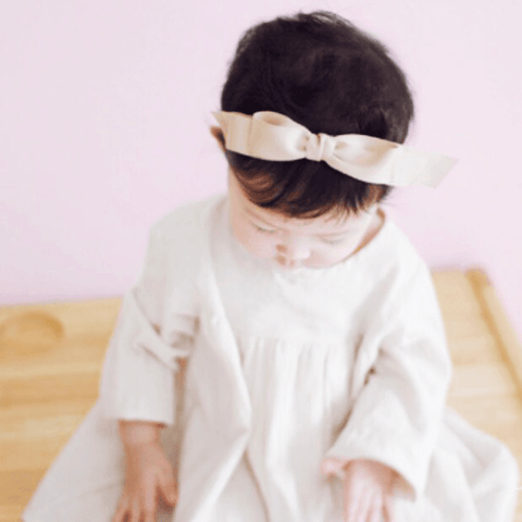 Arim Closet - Satin Ribbon Headband (Beige)