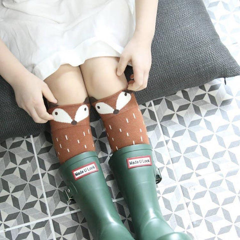 Mini Dressing - Raccoon Knee Socks in Brown, Mini Dressing - BubbleChops LLC